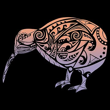 Maori Kiwi Bird Orange Violet - Gift Idea by vicoli-shirts