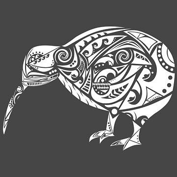 Maori Kiwi Bird White - Gift Idea by vicoli-shirts