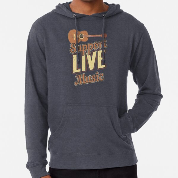 Support Live Music Musician Band Indie Retro Lightweight Hoodie