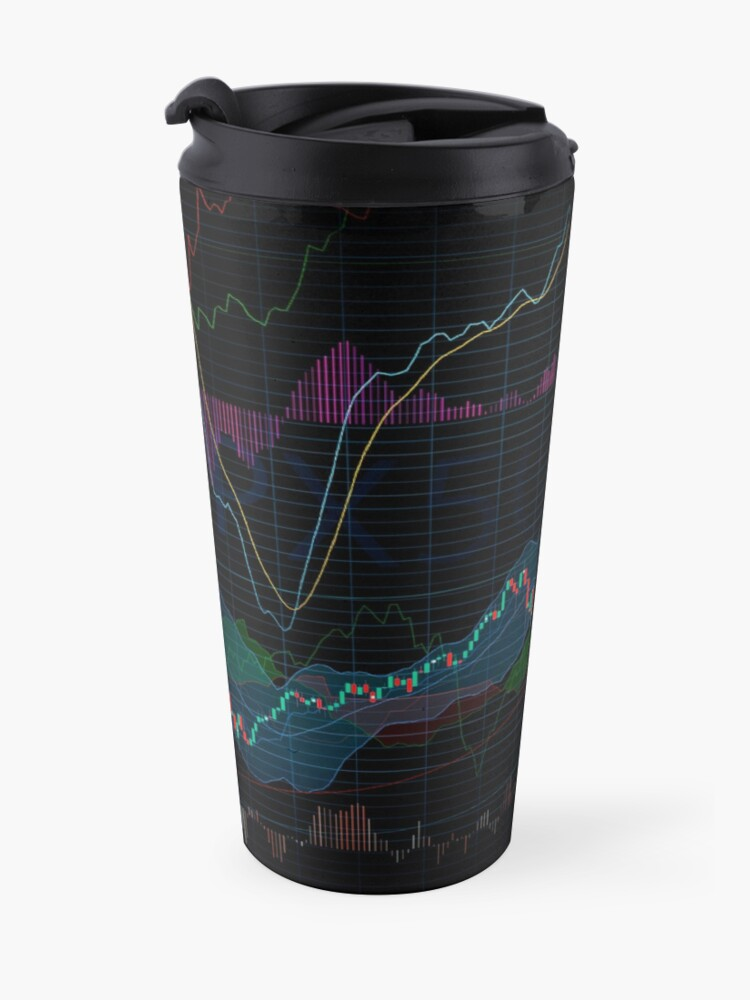 Alternate view of Stock market SPX500 trading chart display indicators concept art print Travel Mug