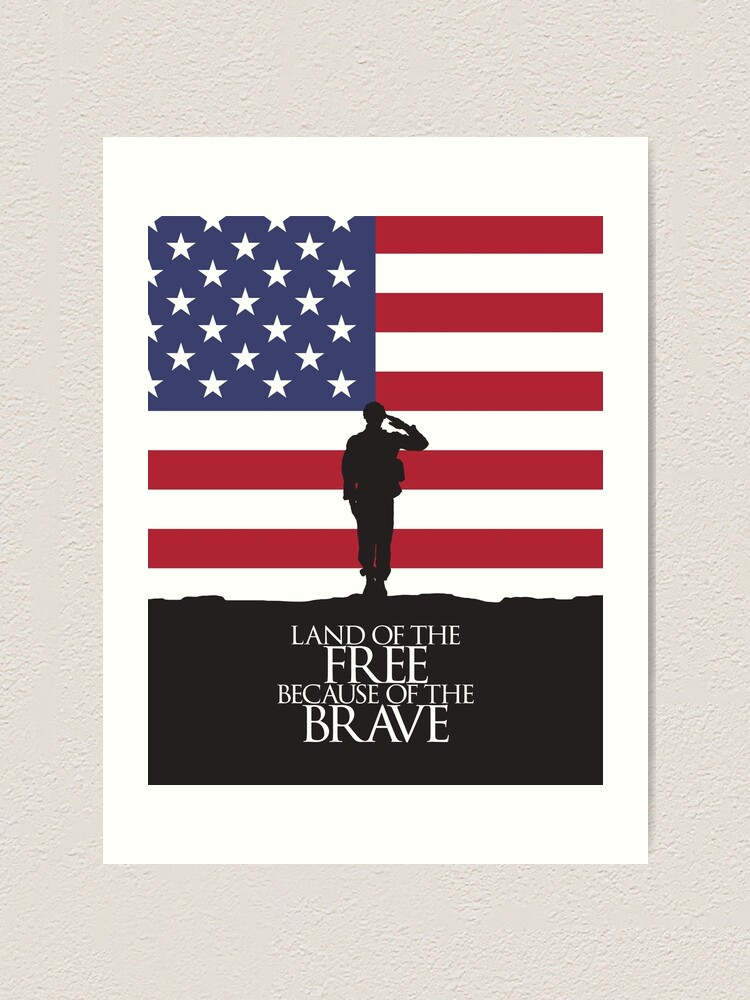 Land Of The Free Because Of The Brave Us Flag Art Print By Studio228 Redbubble