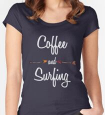 Coffee and Surfing T shirt Hoodie Women's Fitted Scoop T-Shirt