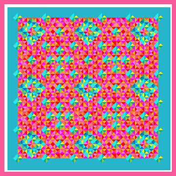 Abstract Colorful Geo Diamond Pattern with Border in Rose/Turq/Pink by IcArtsyOrigin8