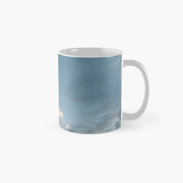 #Evening #sky #clouds #cloud #blue #nature #weather #white #cloudscape #air #heaven #light #cloudy #summer #sun #day #atmosphere #landscape #backgrounds #beautiful #outdoors #skies #sunlight #high  Classic Mug