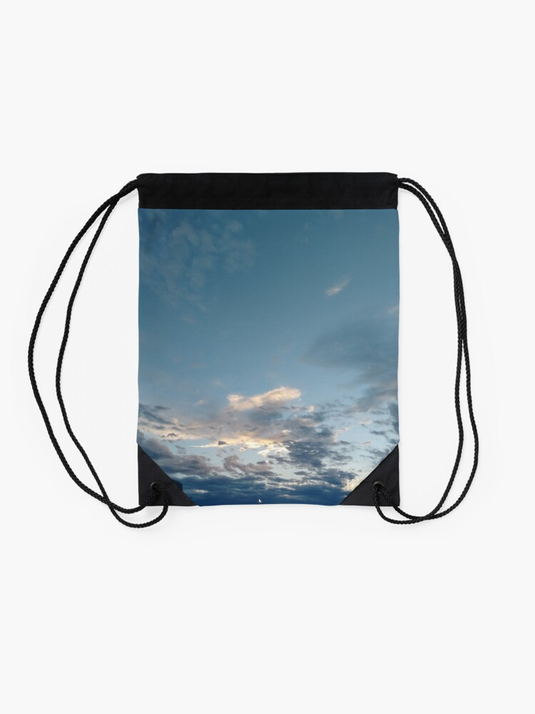 Alternate view of #Evening #sky #clouds #cloud #blue #nature #weather #white #cloudscape #air #heaven #light #cloudy #summer #sun #day #atmosphere #landscape #backgrounds #beautiful #outdoors #skies #sunlight #high  Drawstring Bag