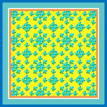 Abstract Colorful Geo Diamond Pattern with Border in Blue/Yellow/Turq by IcArtsyOrigin8