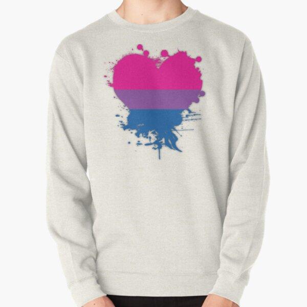 Bisexual Splatter Heart Pullover Sweatshirt