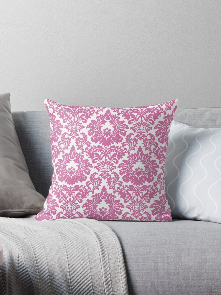 Retro Fleur De Lis Wallpaper Design in Candy Pink by Tee Brain Creative