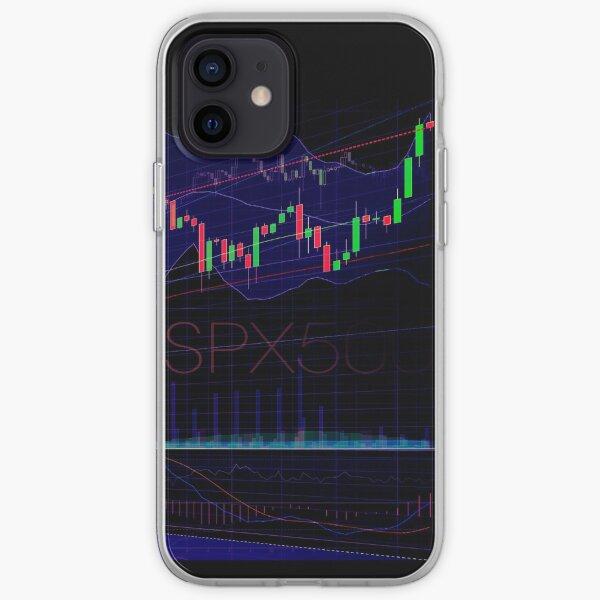 Mercado de valores comerciales SPX500 gráficos concepto arte imprimir Funda blanda para iPhone