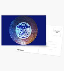 UFO Alien Abuduction Graphic Postcards