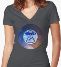 UFO Alien Abuduction Graphic Women's Fitted V-Neck T-Shirt