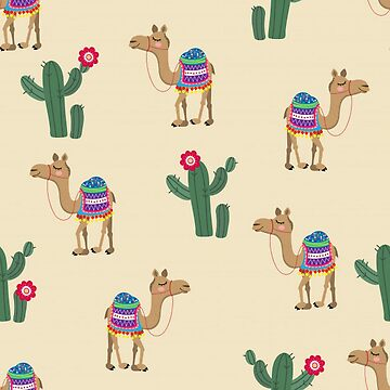 Cute Colorful Camels and Cactus by pugmom4
