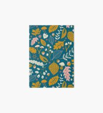 Fall Foliage in Gold + Blue Art Board Print