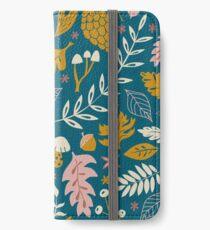 Herbstlaub in Gold + Blau iPhone Flip-Case/Hülle/Skin