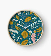 Fall Foliage in Gold + Blue Clock