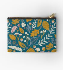 Fall Foliage in Gold + Blue Zipper Pouch