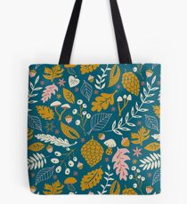 Fall Foliage in Gold + Blue Tote Bag