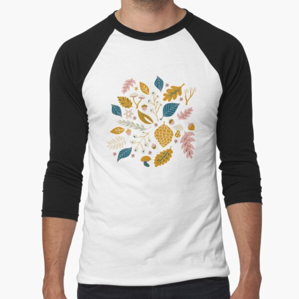 Fall Foliage in Gold + Blue Baseball ¾ Sleeve T-Shirt