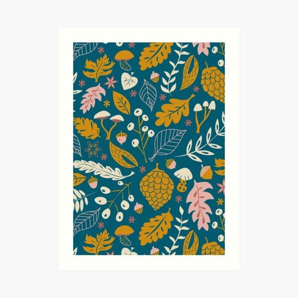 Fall Foliage in Gold + Blue Art Print
