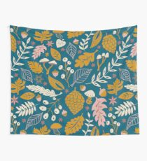 Fall Foliage in Gold + Blue Wall Tapestry
