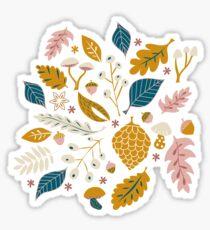 Herbstlaub in Gold + Blau Sticker