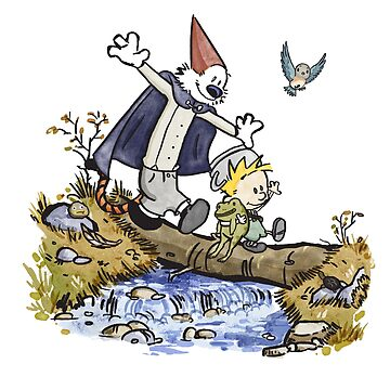 Calvin and Hobbes travel Over the Garden Wall by opiester