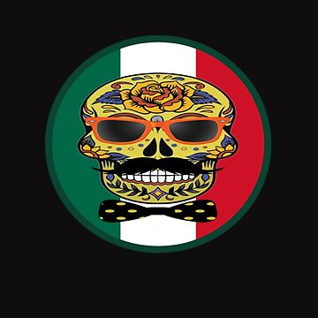 Day Of The Dead Sugar Skull Mexican Flag by galleryOne