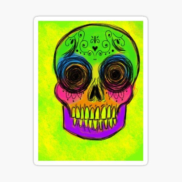 Neon sugar skull Sticker
