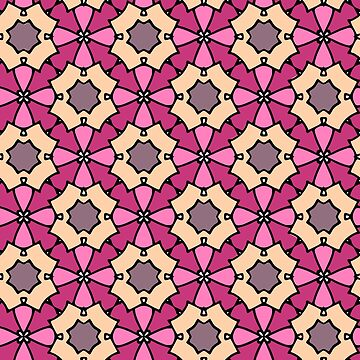 Flower pattern multicolor 70s retro samples 1970s look pink by xsylx