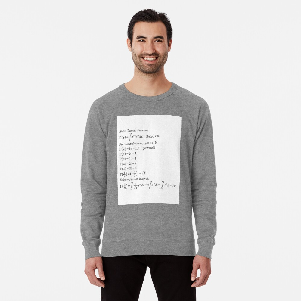 #mathematics #gammafunction #Γ #capital #Greekalphabet #letter #extension #factorial #function #argument #shifteddown #real #complex #numbers #gamma #defined #complexnumbers #nonpositive #integers Lightweight Sweatshirt