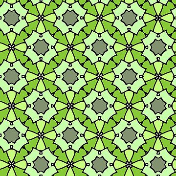Flower pattern multicolor 70s retro samples 1970s look green by xsylx