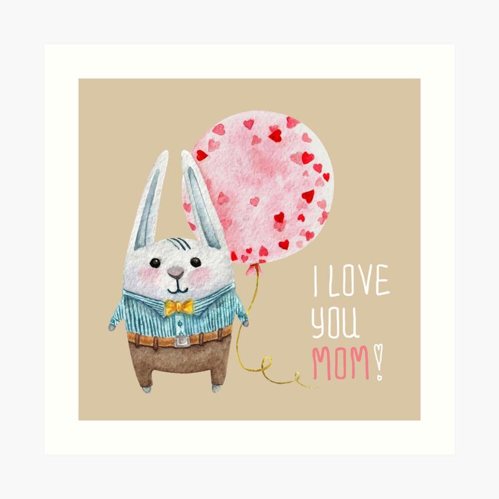 Eine Zeichentrickfigur. Süßes Kaninchen. Aquarell Kunst. Kunstdruck