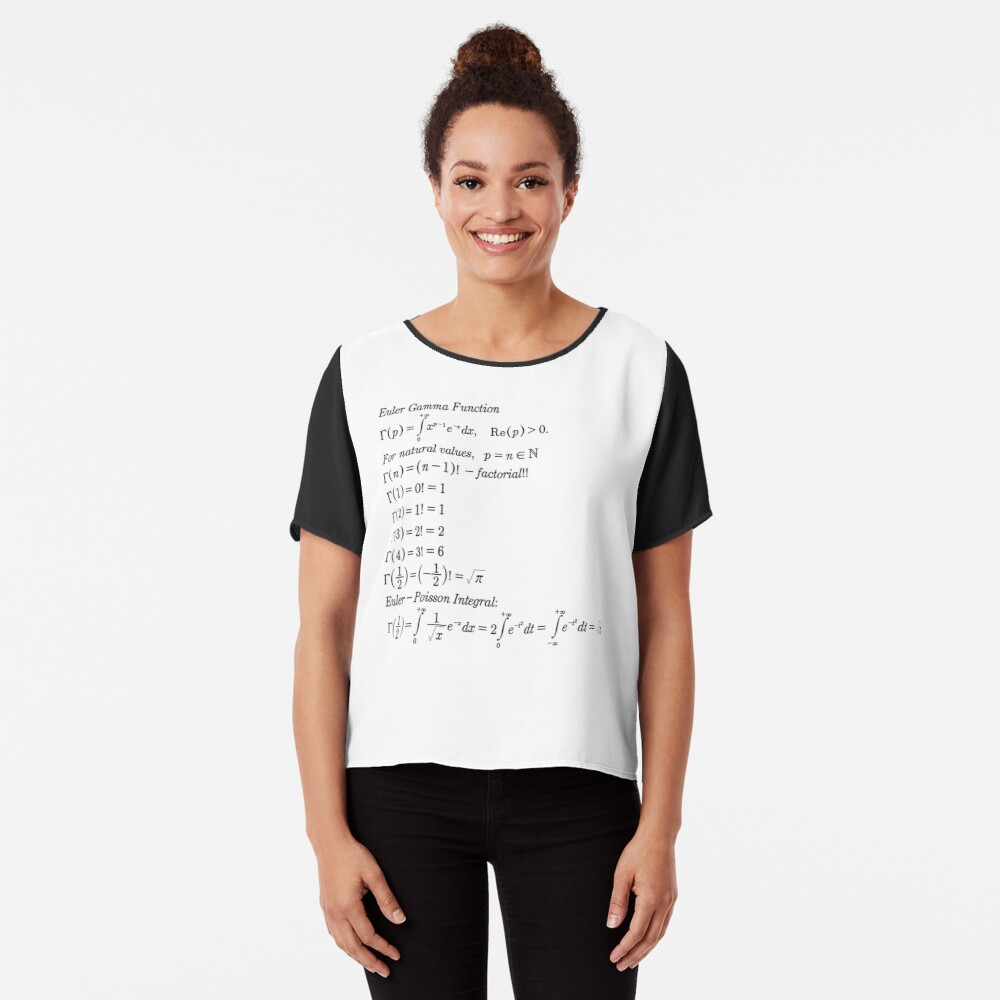 #mathematics #gammafunction #Γ #capital #Greekalphabet #letter #extension #factorial #function #argument #shifteddown #real #complex #numbers #gamma #defined #complexnumbers #nonpositive #integers Chiffon Top