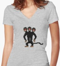 Look behind you! (Monkey Island) Women's Fitted V-Neck T-Shirt