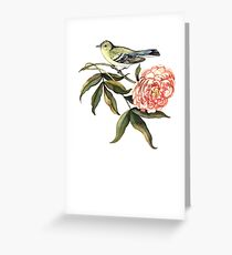 Watercolor bird and flower peony Greeting Card