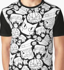 Halloween Pattern (Black and white) Graphic T-Shirt