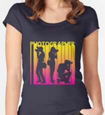 Retro 1980s Photographer Women's Fitted Scoop T-Shirt