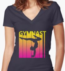 Retro 1980s Gymnast Women's Fitted V-Neck T-Shirt