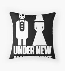 Under New Management Funny Bachelor Party Wedding Throw Pillow
