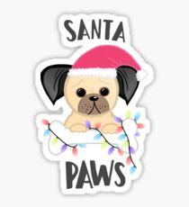 Pug Christmas - Santa Paws, Dog Sticker