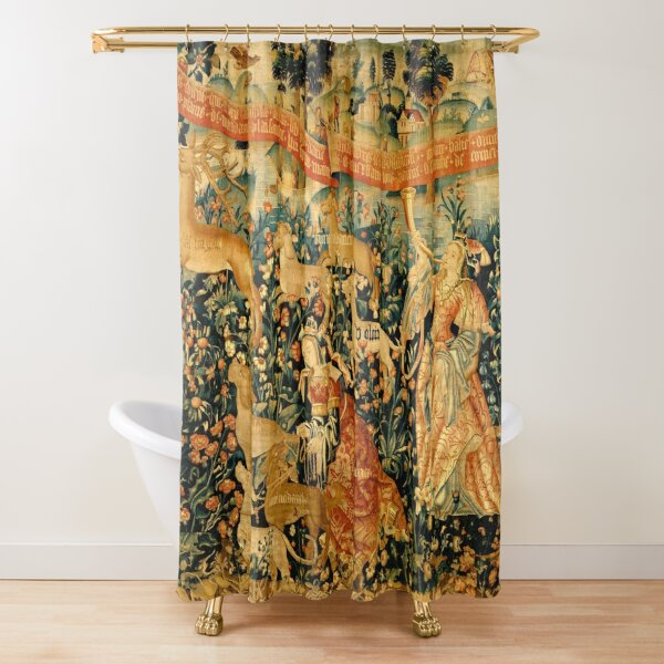 MEDIEVAL DEER HUNTING SCENE WITH LADIES AND DOGS Antique Tapestry Shower Curtain