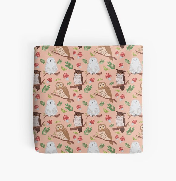 Owl pattern All Over Print Tote Bag