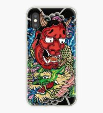 Hannya mask and Japanese dragon iPhone Case