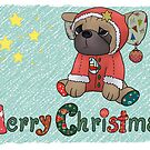 Christmas greeting Pug by Blumchen