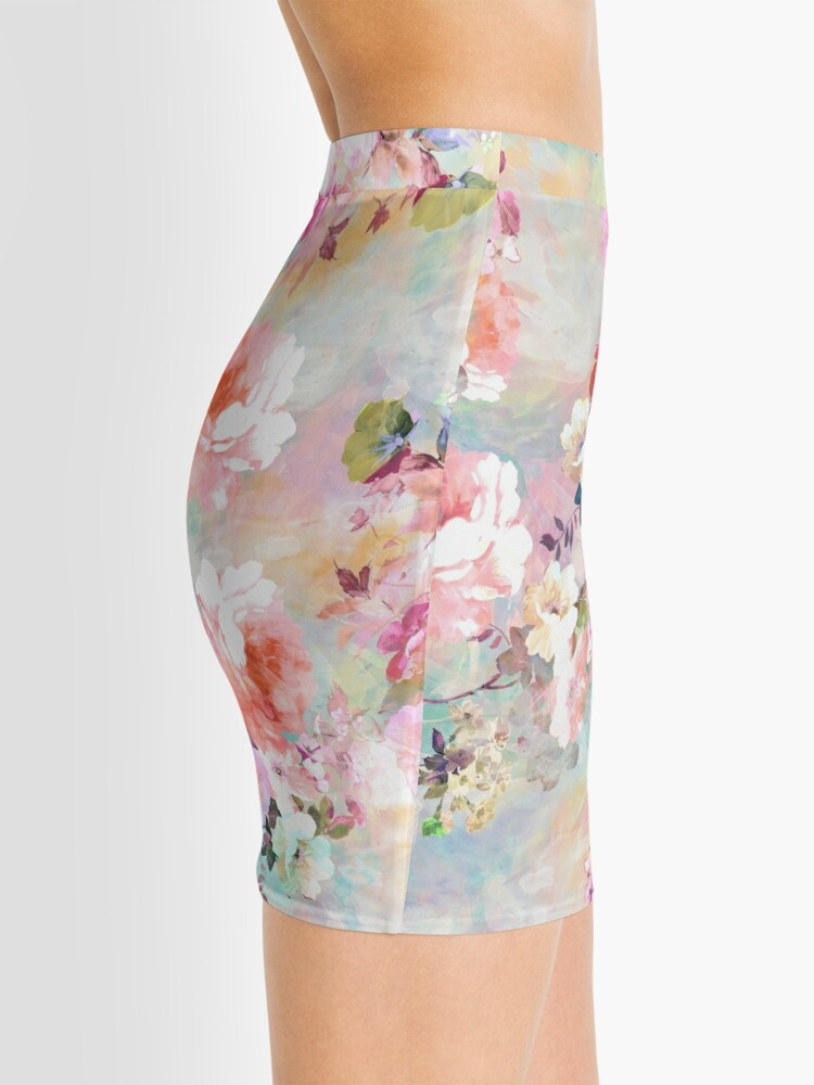 Alternate view of Romantic Pink Teal Watercolor Chic Floral Pattern Mini Skirt