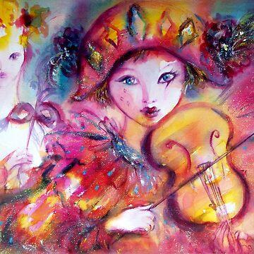 Violinist Arlecchino and Colombina / Venetian Masquerade Masks by BulganLumini