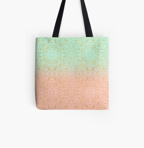 Pink Mint Green Ombre Gold Glitter Geometric  All Over Print Tote Bag