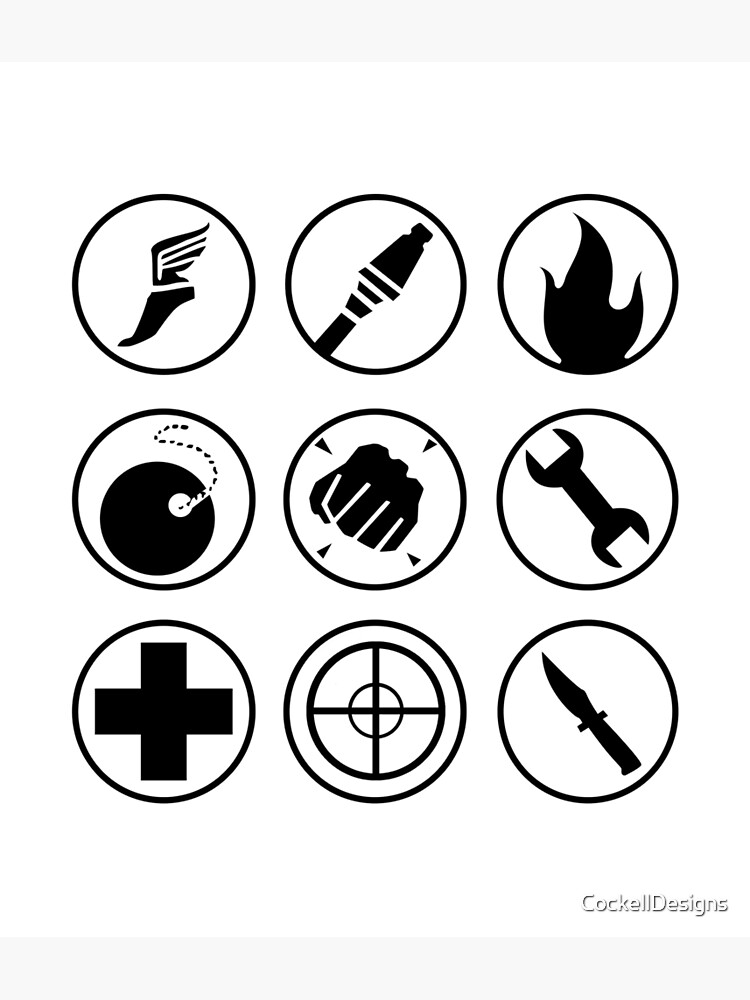 Team Fortress 2 Class Icons Black Greeting Card By Cockelldesigns
