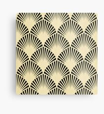 Art Deco, schwarz, beige, rustikal, Vintag, Fan, Muster, elegant, Chic Metalldruck