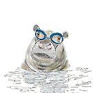 Hippo with swimming goggles by Carmen de Bruijn